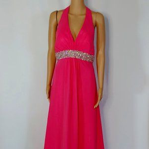 NWT Faviana Halter Top Formal Gown in Bright Pink